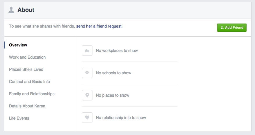 Facebook About Page
